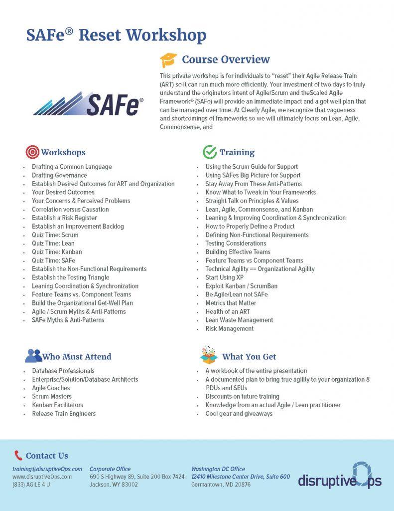 SAFe Reset Workshop PDF